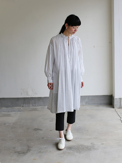 String long gather blouse~tape stripe cotton 1