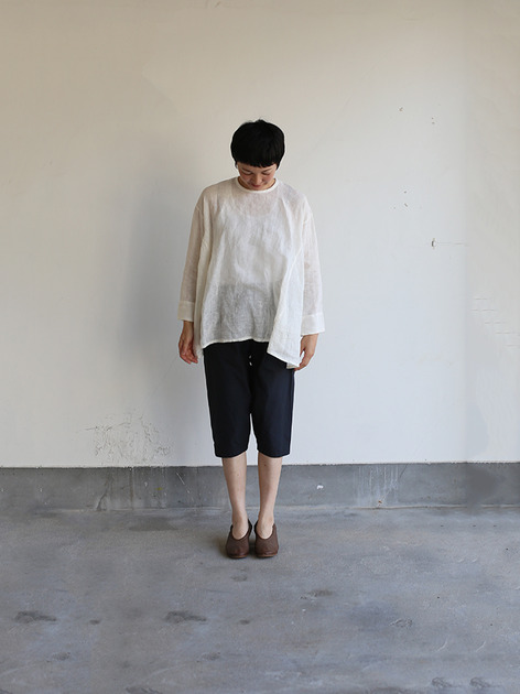 Side gather tent line blouse~shell powder linen 2