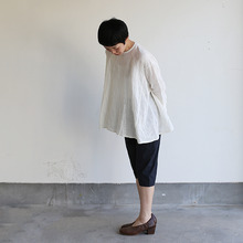Side gather tent line blouse~shell powder linen
