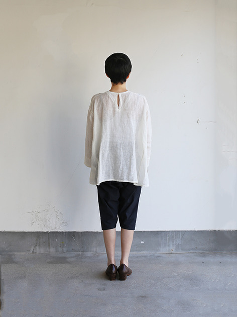 Side gather tent line blouse~shell powder linen 3
