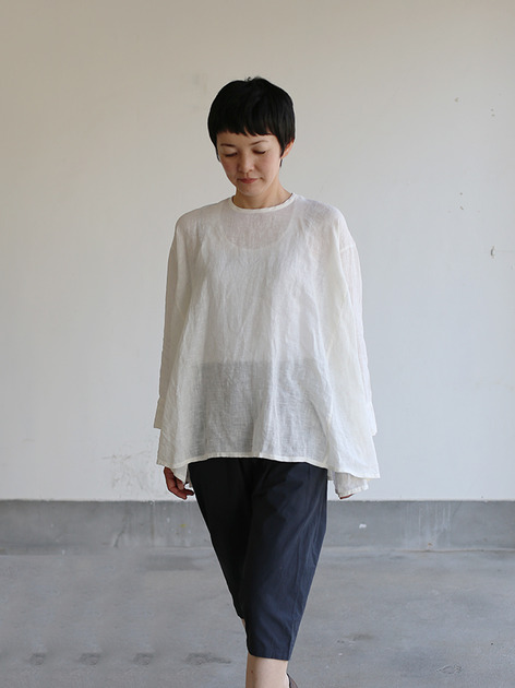 Side gather tent line blouse~shell powder linen 4