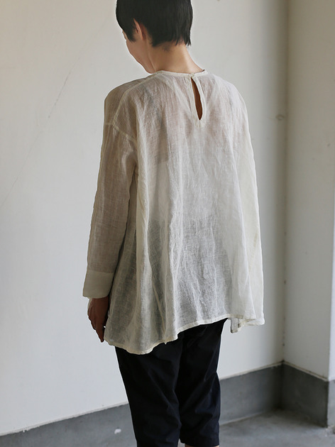 Side gather tent line blouse~shell powder linen 5