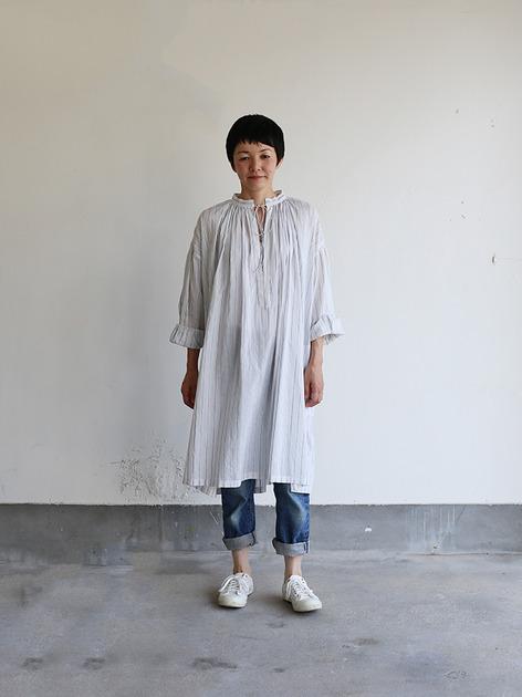 String long gather blouse~tape stripe cotton 2