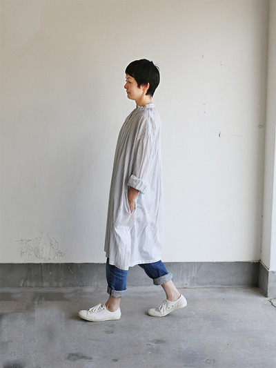 String long gather blouse~tape stripe cotton 3