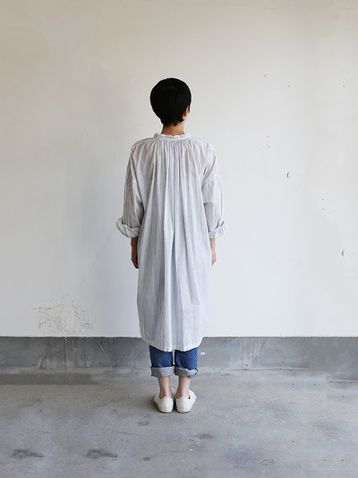 String long gather blouse~tape stripe cotton 4