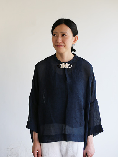 Front button big slip on blouse~ai-susu linen 3