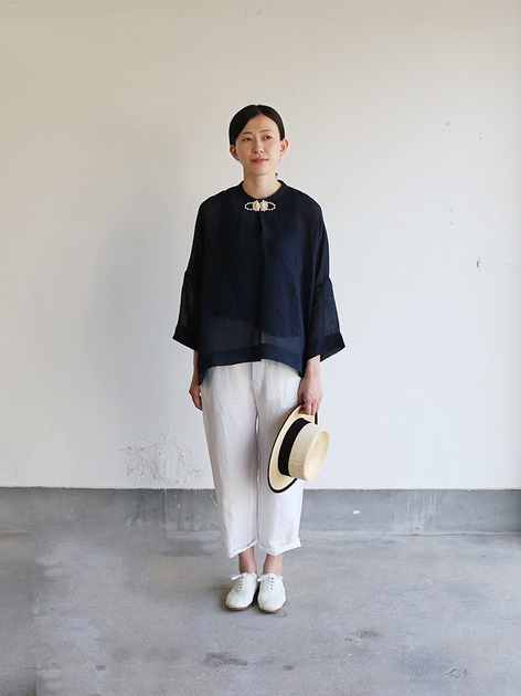 Front button big slip on blouse~ai-susu linen 2