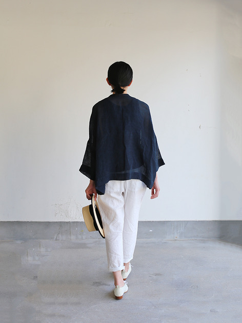 Front button big slip on blouse~ai-susu linen 5
