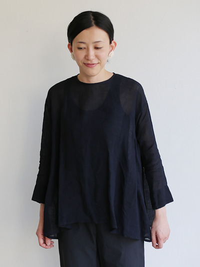 Side gather tent line blouse~ai-susu linen 4