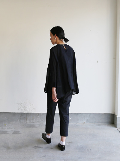 Side gather tent line blouse~ai-susu linen 3