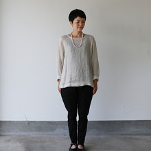 Long sleeve big T-shirt~linen