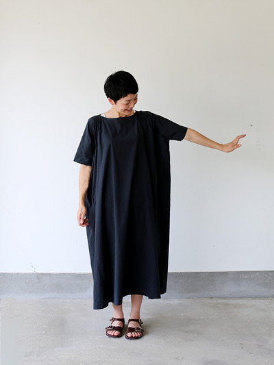 Tent line dress very long~natural dye cotton 2