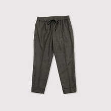 Draw string easy tapered pants~wool mixgray