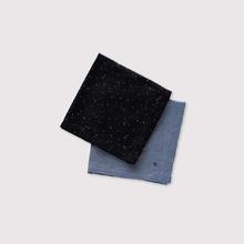Picot handkerchief~kasuri rain dots/ fade colour linen