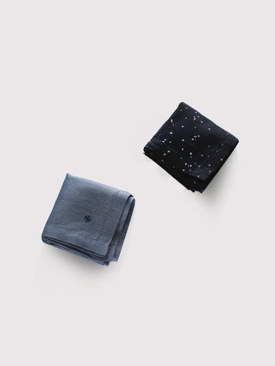 Picot handkerchief~kasuri rain dots/ fade colour linen 2