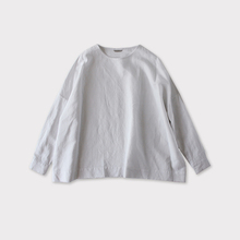Shoulder button big slip on blouse~cotton linen
