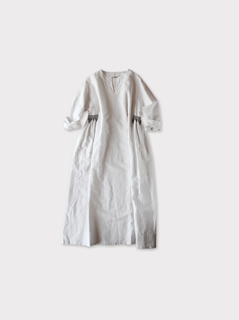 Side smocking dress~cotton linen 2
