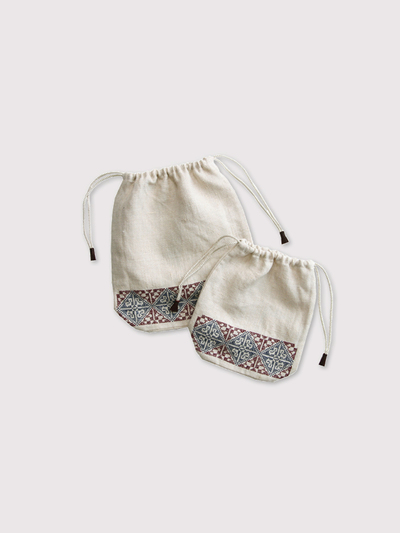 Embroidery draw string pouch【SOLD】 1