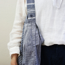 Original Tote M L~crazy check linen